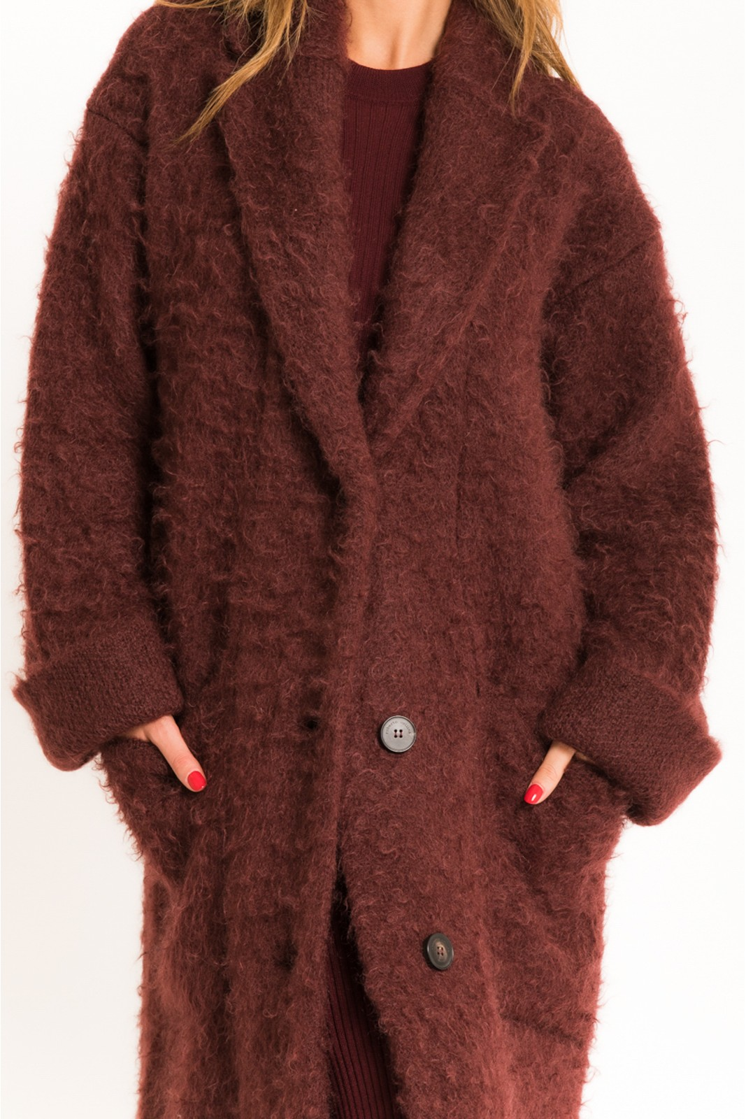 Cappotto in lana boucle...